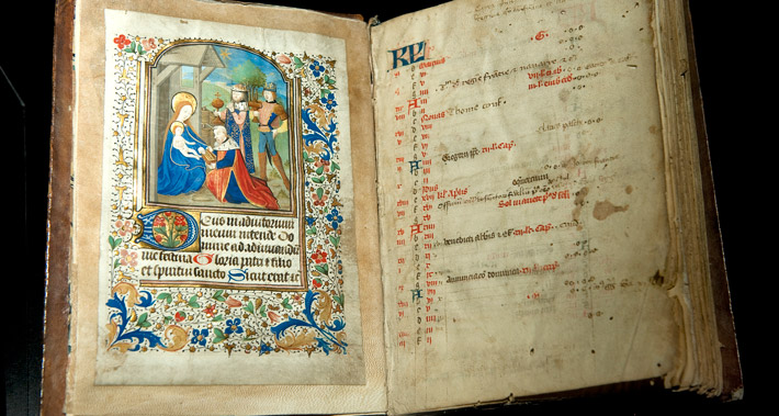 The Scriptorial, illuminated script depicting the adoration of the magi, 15C manuscript.