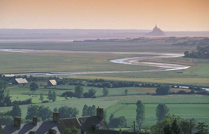 view from avranches village, le mont st  michel, france