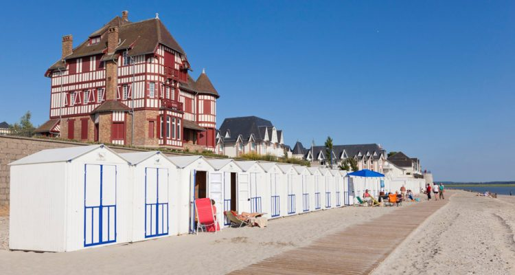 Seaside villas and beach huts at Le Crotoy in the Somme Bay.