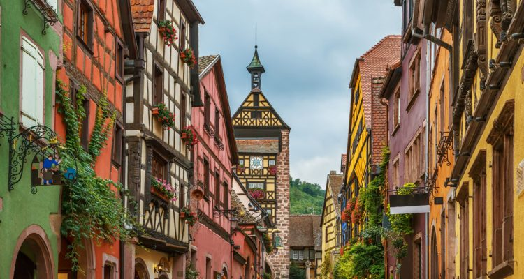 The picturesque medieval village of Riquewihr is popular for its architectural heritage.