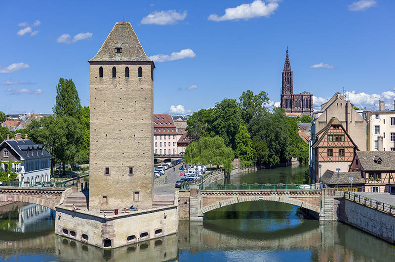 Ponts-Couverts bridge La Petite France and Cathedral Strasbourg Alsace France.