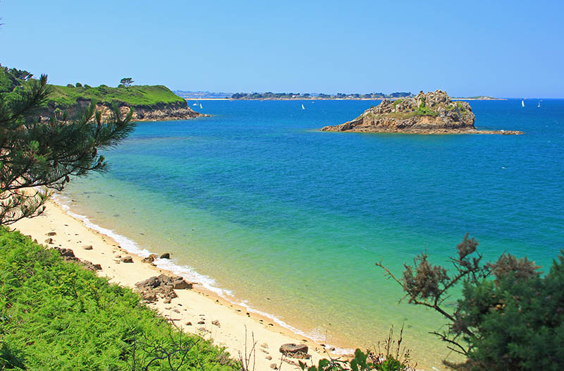 Beach and islands in the Bay of Morlaix, Finistere, English Channel, Brittany, France