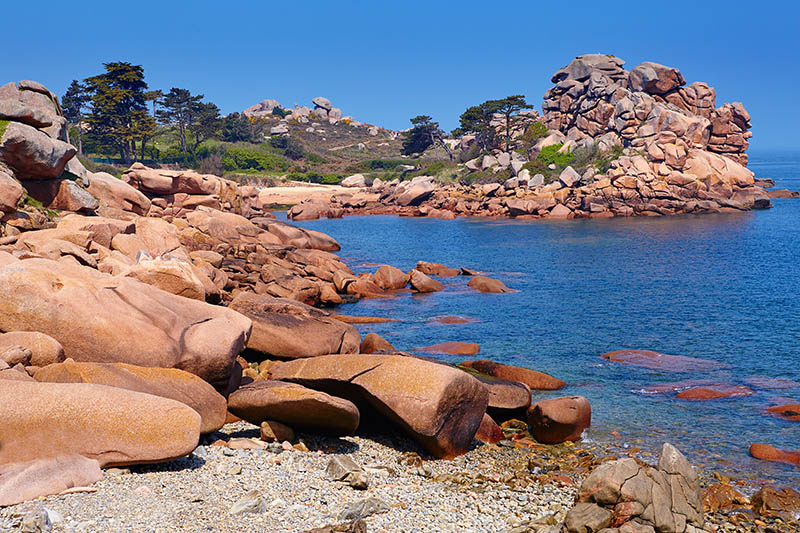 Scenic view of pink granite coast in Brittany, France