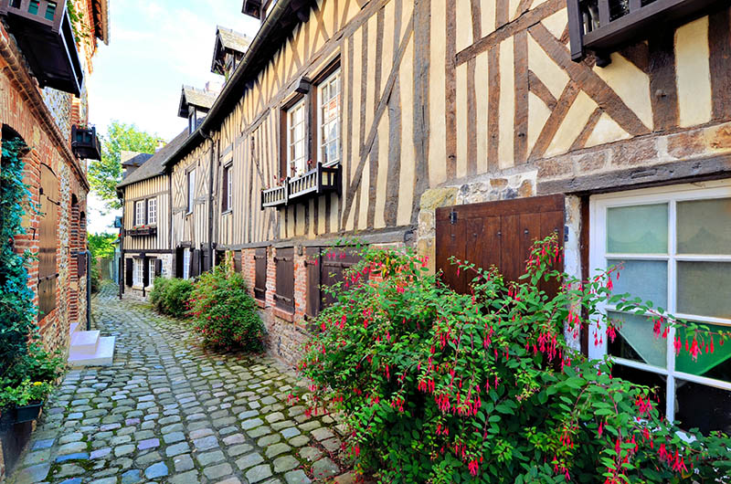 Picturesque timbered buildings in the Normandy town of Honfleur, France