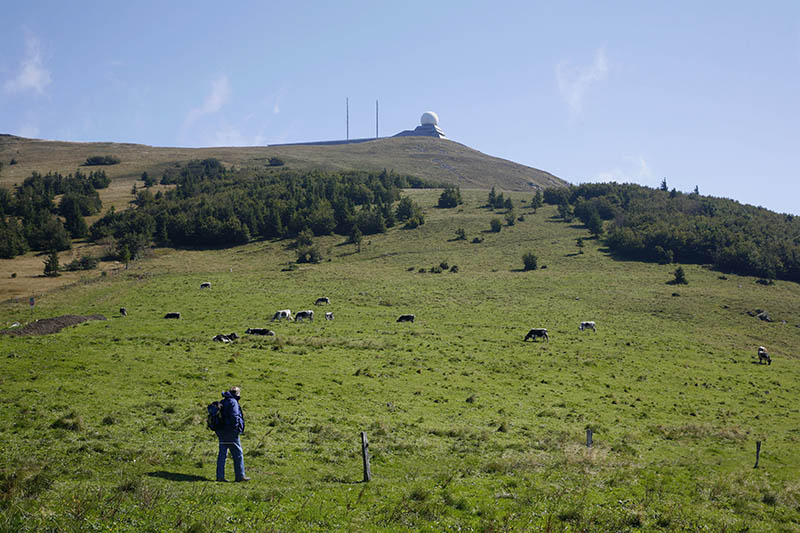 Sep 2008 - People climbing the Grand Ballon Mountain, Route des Cretes Route of the Crests, in the Vosges mountains, Alsace, France