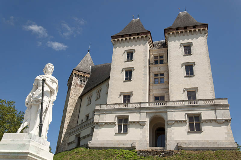 Pau, France - August 3, 2013: Pau medieval castle located in the French town of Pau in the department of Pyrenees-Atlantiques, France