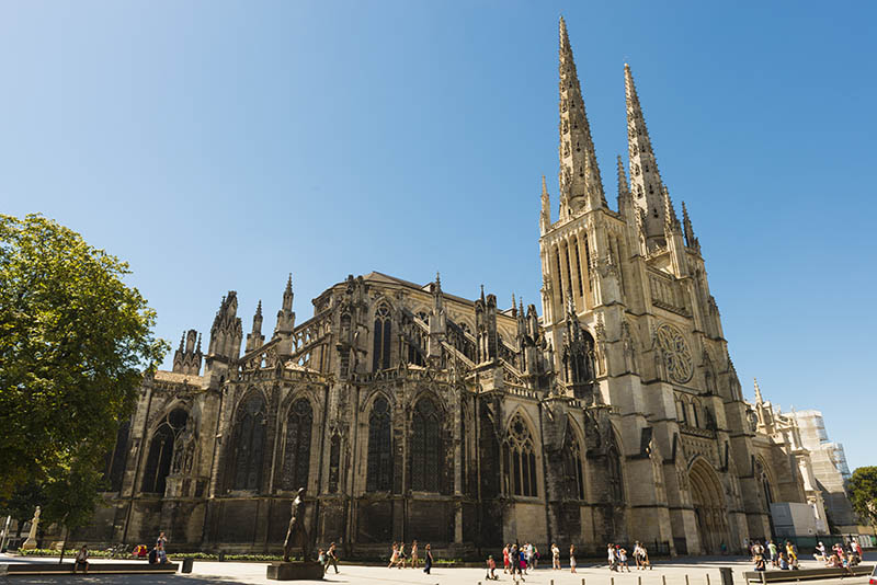 Bordeaux, France - August 14, 2013: St. Andrew's Cathedral in Bordeaux is 124 m long and 29 m high. It is one of the biggest cathedrals in France. Most is gothic style. The building is since 1998 on the list of the unesco world heritage.