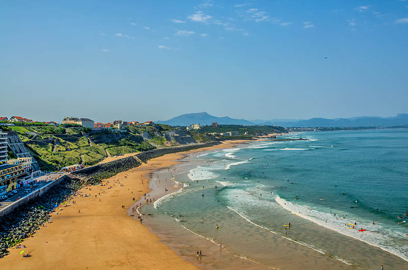 A sandy beach used for surfing on the Atlantic coast in Biarritz, South West France.