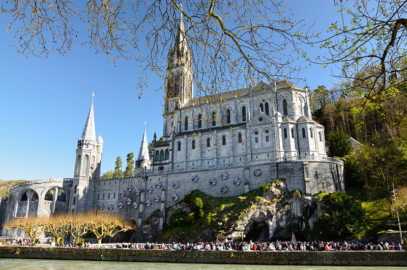 The Basilica of Our Lady of the Immaculate Conception is a Roman Catholic church and minor basilica in Lourdes. It was built on top of the rock above the Grotto.
