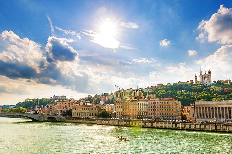 Beautiful city of Lyon, France and river view against the bright sun beams. Shot with Nikon D800 and 24-70