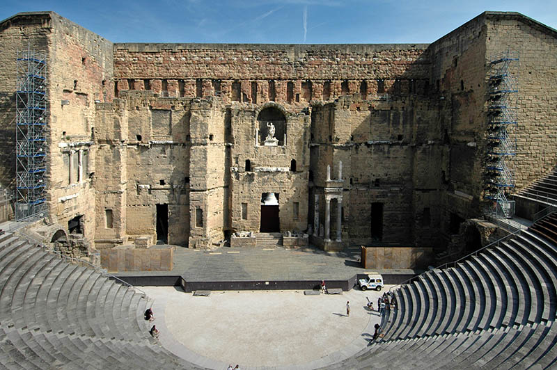 The old Roman amfitheatre in Orange, France, built early in the 1st century AD. It is one of the best preserved of all the Roman theatres in the Roman colony of Arausio (or, more specifically, Colonia Julia Firma Secundanorum Arausio: