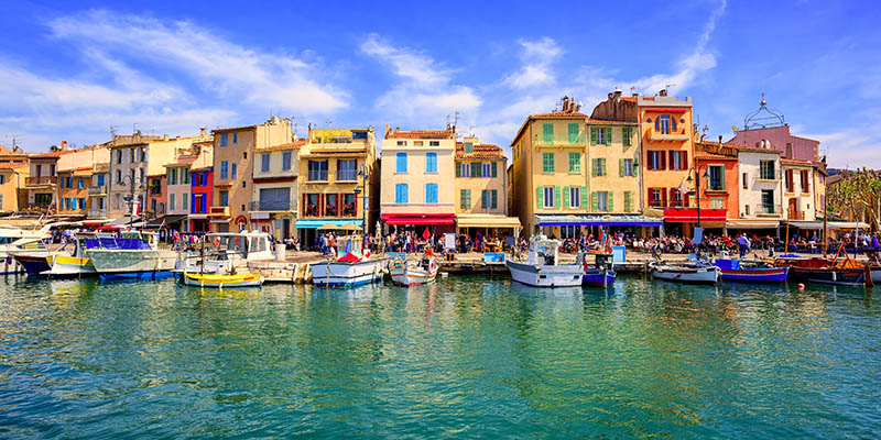 Colorful traditional houses on the promenade in the port of Cassis town near Marseilles, Provence, France