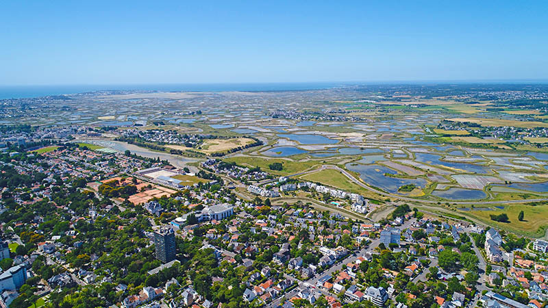 An aerial view of Guerande salt marshes from La Baule, Loire Atlantique