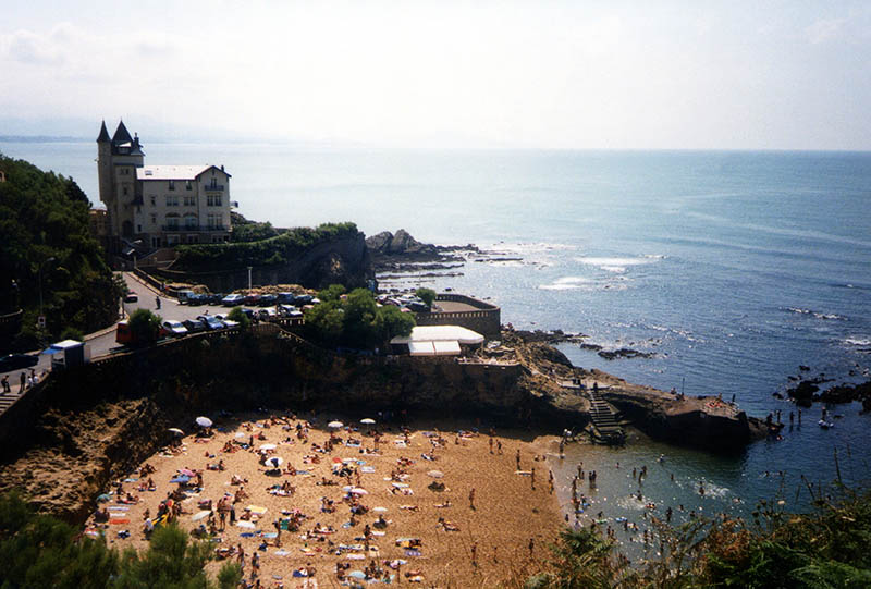 Summer crowded beach down the Biarritz castle, Biarritz, Aquitaine, Bay of Biscay - France