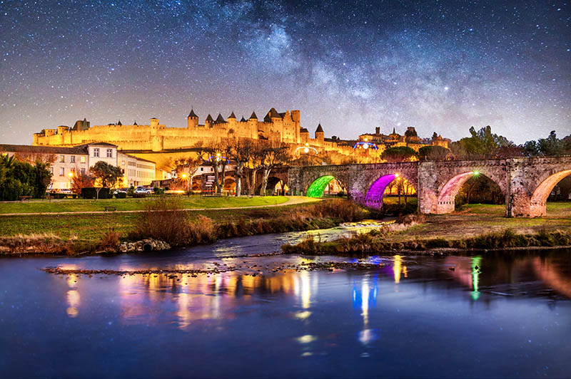 Cité from Carcassone and old bridge at night. Carcassonne. France
