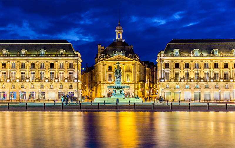 View of Place de la Bourse in Bordeaux - France
