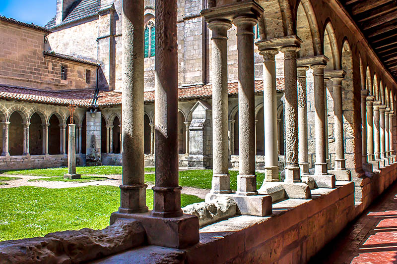 The cloister of the Collegiate church in Saint Emilion near Bordeaux, France