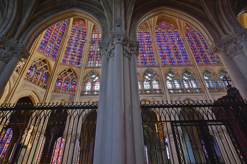Stained glass windows inside Saint Gatien cathedral, Tours, Indre-et-Loire, Centre, France, Europe