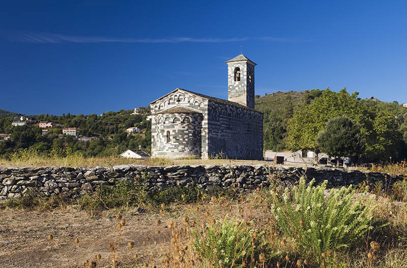 Pisan church of San Michele de Murato, Nebbio, Corsica, France, Europe