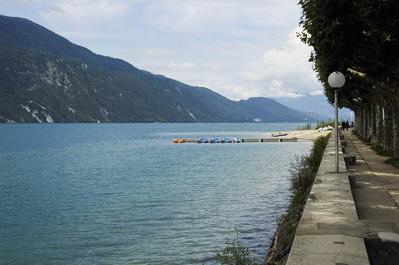 View of Lake Bourget and walk way of Aix-les-bains, in french alps, France