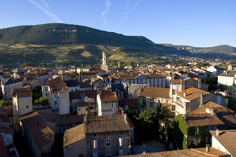 High angle view of city, Millau, Aveyron, Midi_Pyrenees, France