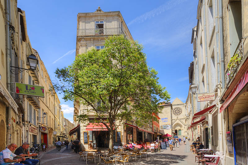 Restaurants in the old town, Montpellier, Longuedoc-Roussillon, Herault, France