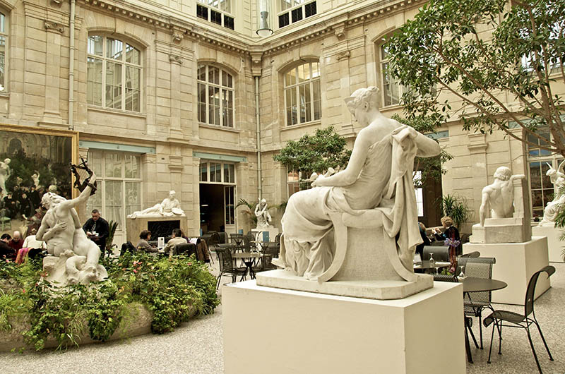 Museum coffee shop in the foreground : a statue by Simon Mansion 1773 1854 , Diana the hunteress Beaux Arts Museum ROUEN Normandy 76 France