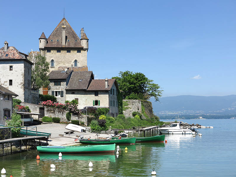 The harbour in the medieval town of Yvoire situated on the southern bank of Lake Geneva in the Haute Savoie region of France