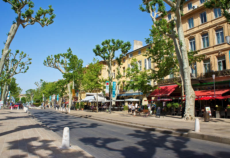 The Cours Mirabeau, the main street in Aix-en-Provence, France