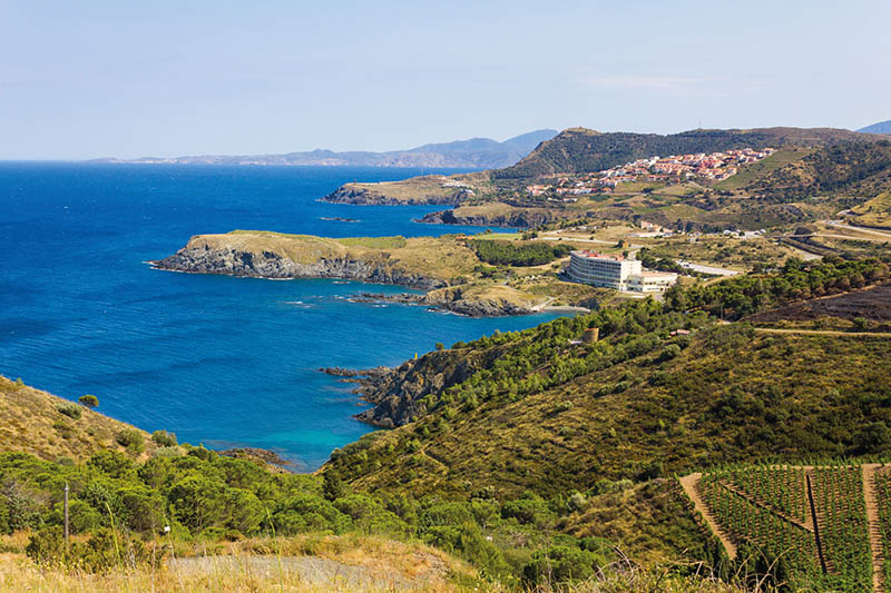 Cerbere, France - June 25, 2016: View over Cap de Peyrefite, a cape located between Banyuls-sur-Mer and Cerbere. This area is a marine nature reserve, favorite for scuba diving.