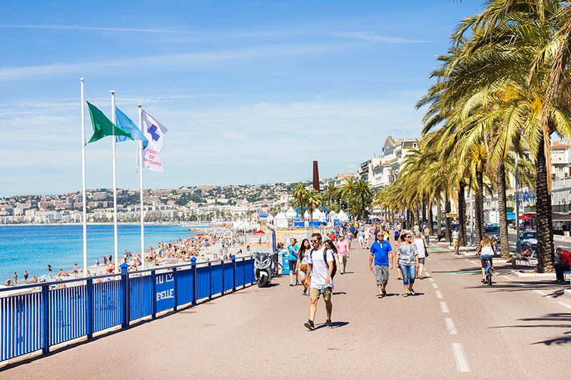 Nice, France - June 20, 2016: People walking by the Promedade des Anglais, Nice, France.