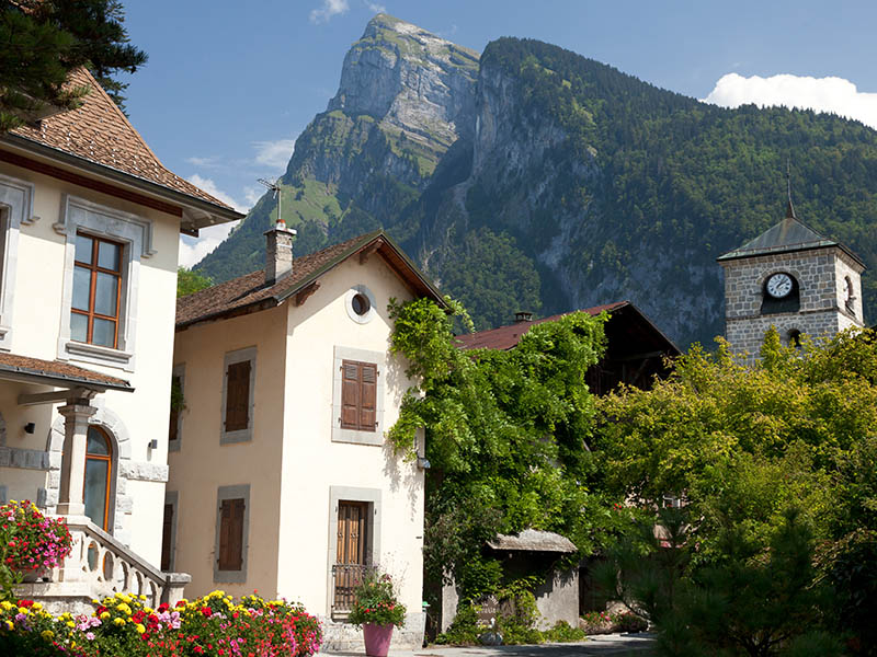 The French alpine village of Samoens in summer.  In winter a ski resort, but colourful, bright and warm in high summer.