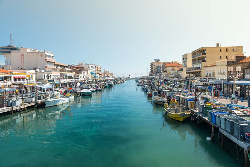 Palavas Les Flots, France - September 6, 2013:  Canal of Palavas Les Flots with small fishing boats.