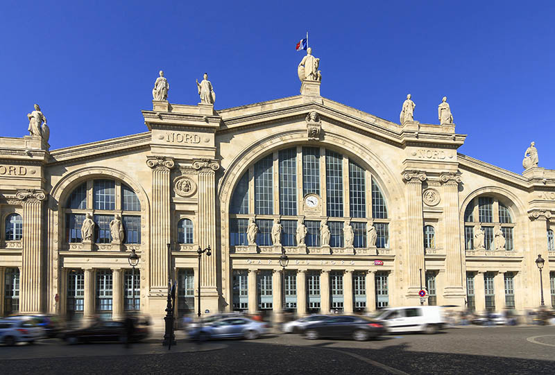 Facade of train station Gare du Nord in Paris, France