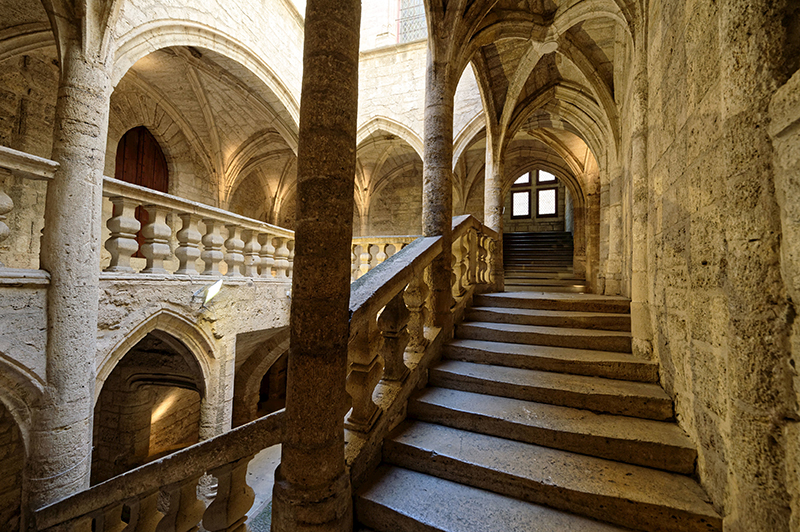 France, Herault, Pezenas, old city, stairs of Hotel de Lacoste Mansion of the 15th century