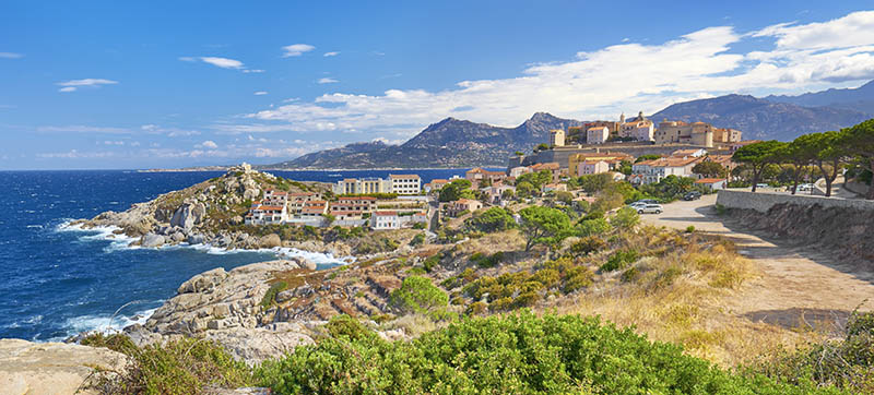 Piana village, Les Calanches, Golfe de Porto, UNESCO, West Coast, Corsica Island, France.