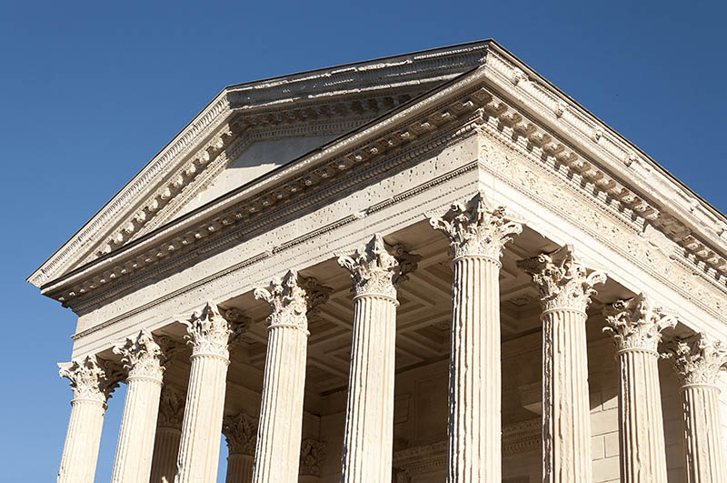 The Maison Carree, one of the best preserved Roman ancient temples, located in Nimes, southern France.