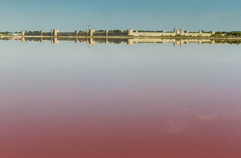 Panoramic view of Aigues-Mortes from salt flats - Camargue - France