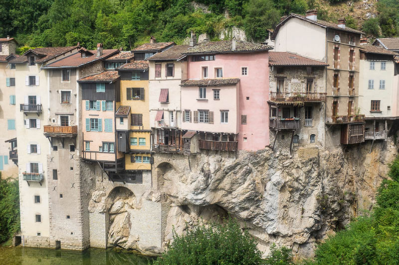 Hanging Houses of Pont-en-Royans, a small town at the edge of Massif Vercors (French Alps)