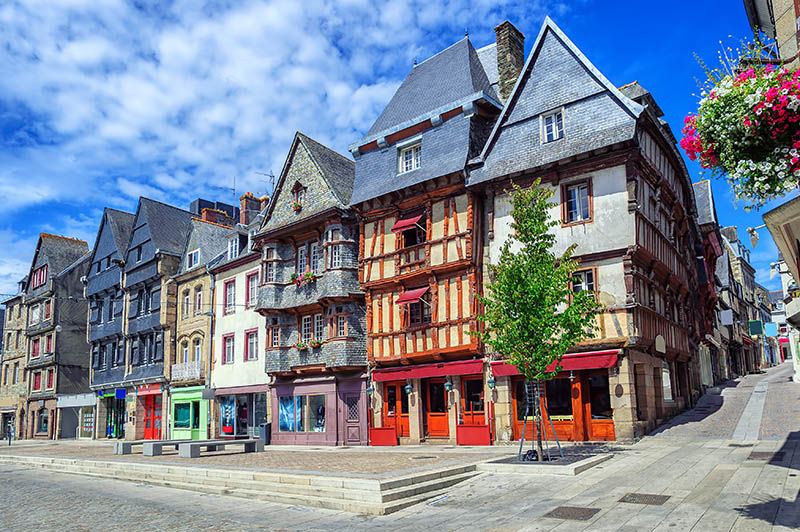 Colorful medieval houses in the historical city center of Lannion, Brittany, France