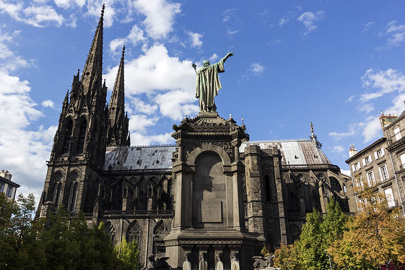 Clermont-Ferrand Cathedral in France during a sunny day