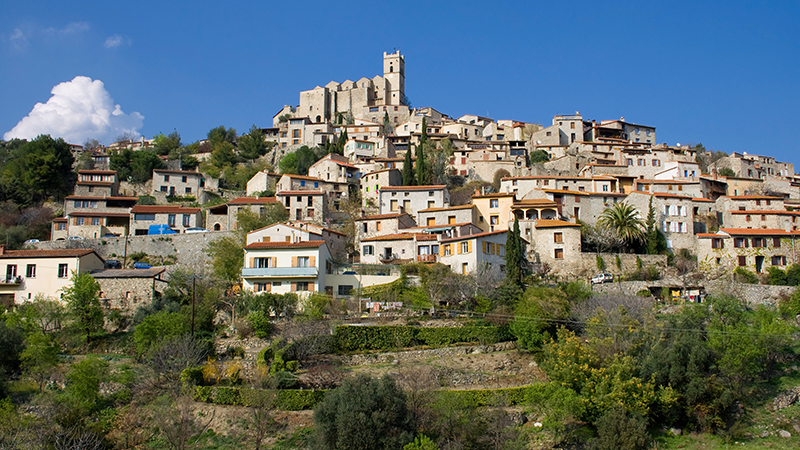 Panorama of the old town of Eus in the Pyrenees Orientales, France.
