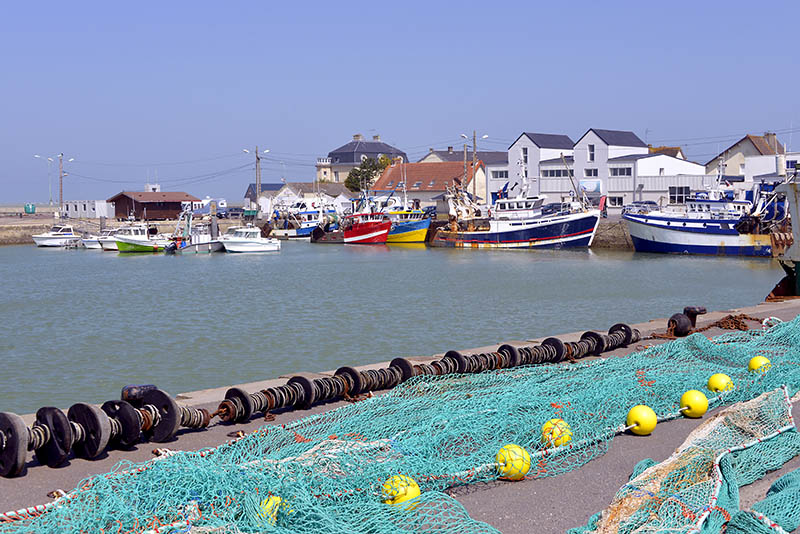 Fishing nets in the port of Grandcamp-Maisy, a commune in the Calvados department in the Basse-Normandie region in northwestern France.