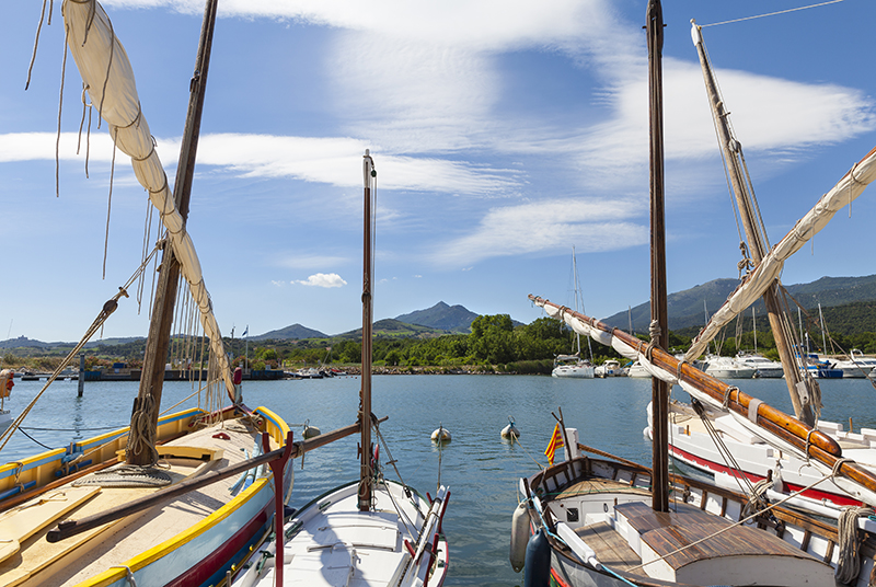 Harbor of Argeles-sur-mer with old fishing boats in front, mountain range of the Pyrenees in the background.
