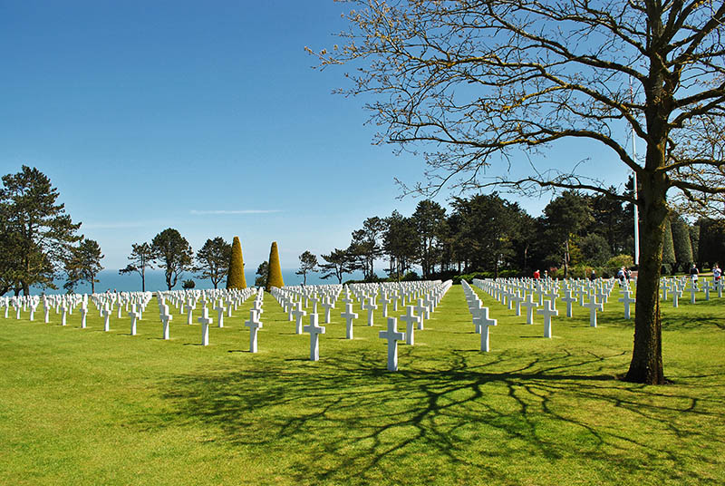 The Normandy American Cemetery and Memorial is a World War II cemetery and memorial in Colleville-sur-Mer, Normandy, France, that honors American troops who died in Europe during World War II.