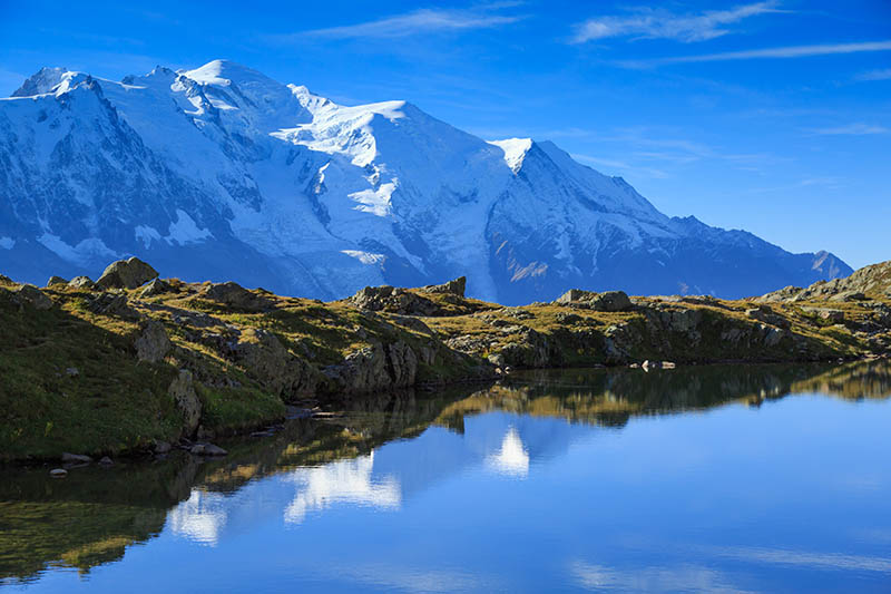 Lac De Chéserys, with the Mont Blanc in the background.