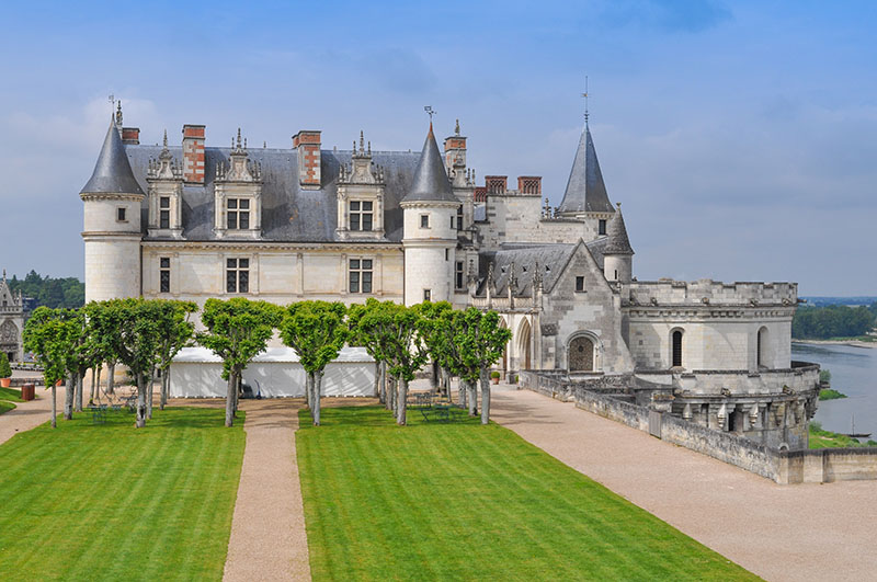 Amboise, France - June 2, 2014: The Royal Chateau is the largest castle in the Indre et Loire departement of the Loire Valley in France