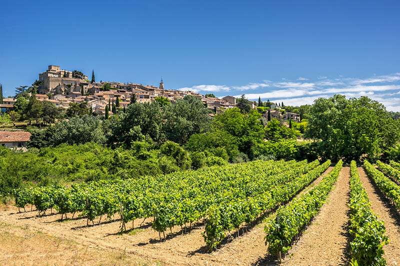 Looking across a vineyard towards the hill top village of Ansouis in the Luberon Provence