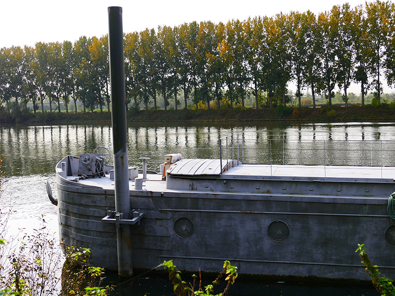 One barge in Conflans Sainte Honorine, France