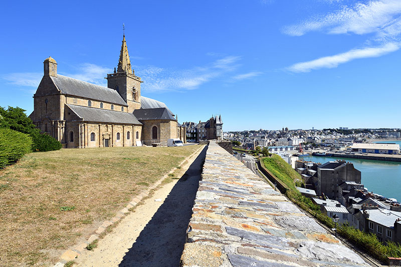 France, Manche, Cotentin, Granville, the Upper Town built on a rocky headland on the far eastern point of the Mont Saint Michel Bay, Notre Dame du Cap Lihou church